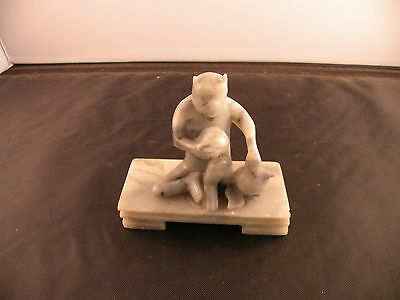 Vintage Asian Jade monkey statue, sculpture, stone carving, hand carved