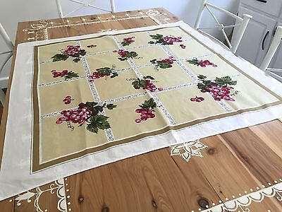 Vintage Retro Cotton Tablecloth Grape Print Bright Floral Square 85Cm