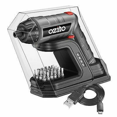 Ozito 3.6V Cordless Screwdriver Torch with Charging Base with Driver Bits
