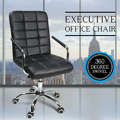 New Executive Premium Luxury PU Leather Office Computer Chair Black Swivel