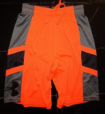 Boys Under Armour Black Gray Neon Orange Shorts Youth Medium M