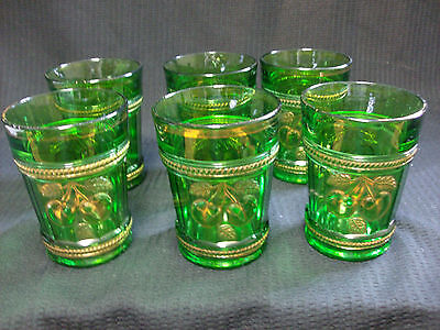 "Northwood Peach & Cable Set Of 6 Green Tumblers Glasses 4"" Tall Free Shipping"