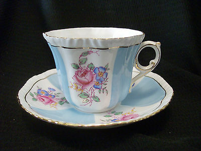 Royal Grafton Cup And Saucer Roses With Flowers Robins Egg Blue Bands Ruffle Top
