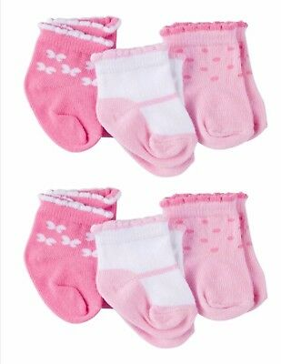 Gerber Newborn Baby Girl Ankle Bootie Socks, 6-Pack Size 0-6 month