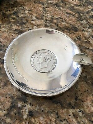 Spanish 5 Pesetas 1885 Coin Solid Silver Ash Tray 4 Inch