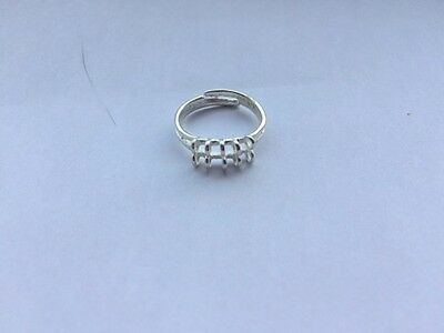 5 x 10 Loop Charm Adjustable Ring Blank Jewellery Making Silver Colour