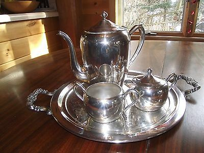 1883 Rogers Silver on Copper Tea/Coffee Set w/Serving Tray  1100