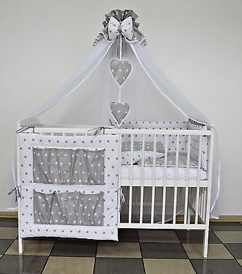 7 Pc White/grey Stars Baby Bedding Set Cot Cotbed Inc :luxury Canopy+ Bumer+More