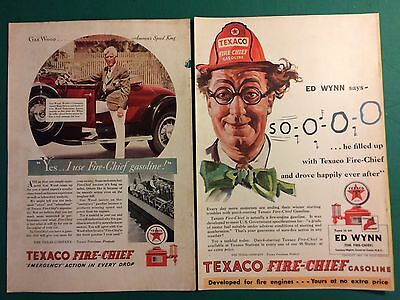 TEXACO Fire Chief Gasoline Lot (2) Vintage Magazine Ads Gar Wood Speedboat 1930s