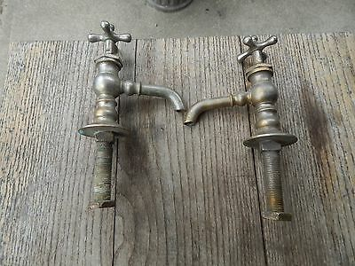 Pr Antique Nickel Brass Separate Hot Cold Sink Faucet Peck Bros.Tall Profile