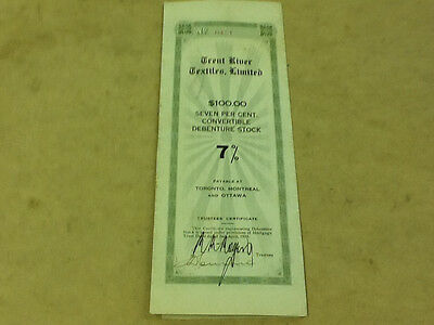 ^ 1925 Dominion of Canada 'Trent River Textiles Limited' $100 Stock Certificate