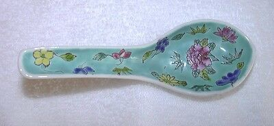 Antique Vintage Chinese Porcelain Soup Spoon Blue Teal China Famille Rose