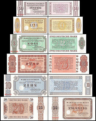 Germany 50 Pfennig to 20 Deutsche Mark 6 PCS Set, 1958-73, UNC, Bethel Germany