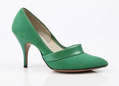 VTG 1950s KAY KING BRIGHT GREEN SUEDE UNBREAKABLE HEELS PUMPS SHOES SIZE 6