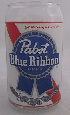 PABST BLUE RIBBON Can shaped Beer Glass Est 1844 Milwaukee