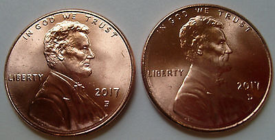 "2017-P&d Lincoln Cents Uncirculated First Ever ""p"" Mintmark"" One Year Only!"