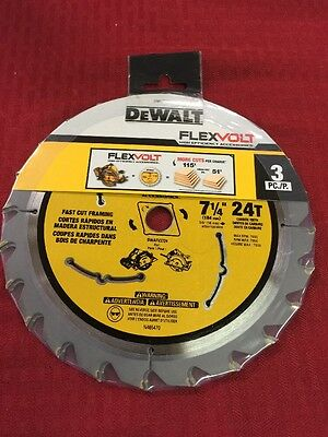 "New 3 Pack DEWALT 7-1/4"" 24T Flexvolt Circular Saw Blade  DWAFV37243"