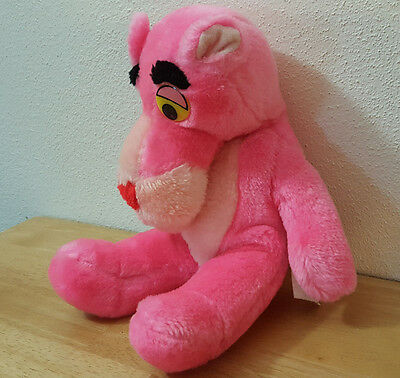 """Pink Panther Plush Stuffed Animal 1989 United Artists Mighty Star 10"""" Vintage"""