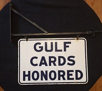 Vintage Double Sided Gulf Cards Honored Hanging Porcelain Gas & Oil Sign