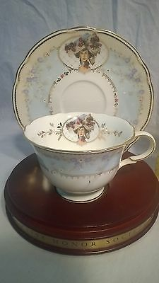 Teacup and saucer 24K gold trimmed bone china Mrs Albee AVON 1998 Honor Society
