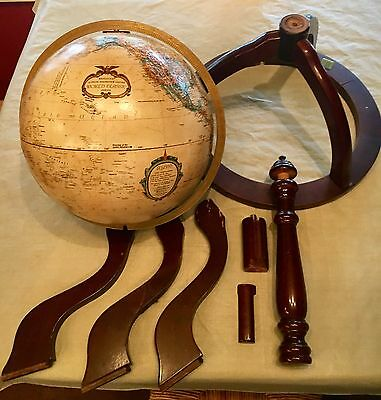 "Vintage 12"" Replogle World Classic Globe/ Bombay Co Antique Style Wood Stand"