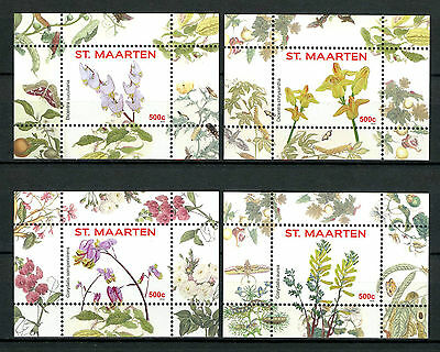 St Maarten 2016 MNH Flowers Series I 4x 1v S/S Nos 9-12 Plants Nature Stamps