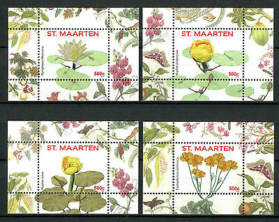 St Maarten 2016 MNH Flowers Series I 4x 1v S/S Nos 5-8 Plants Nature Stamps