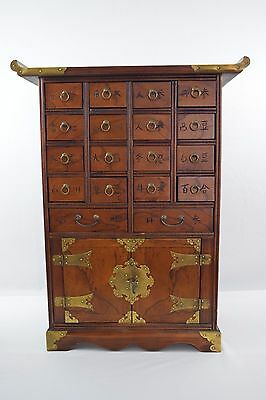 BEAUTIFUL! CHINESE Multi-Drawer APOTHECARY MEDICINE CABINET CHEST W/BRASS LOCK
