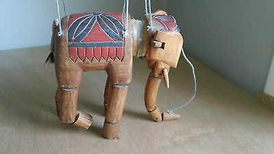 Vintage Antique Wooden Elephant Marionette Puppet, carved wood, red and black