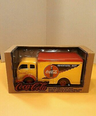 1949 white Delivery Truck Bank, ERTL diecast, Coca-Cola advertising