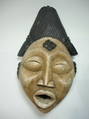 African small  wood Mask Gabon Ancestral Punu / tribal  black & white painted