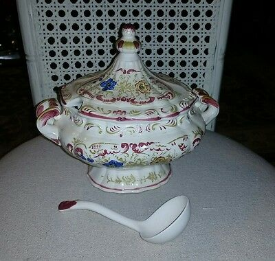 Vintage Soup Tureen W/Lid And Ladle, Floral Swirls Design, Very Good Condition !