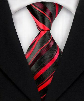 Men's Fashion Striped Silk Neck Ties JACQUARD WOVEN Suits Tie Necktie Red A244
