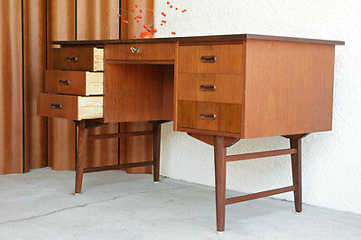 Danish Mid-Century Modern Teak Executive Desk Table eames era