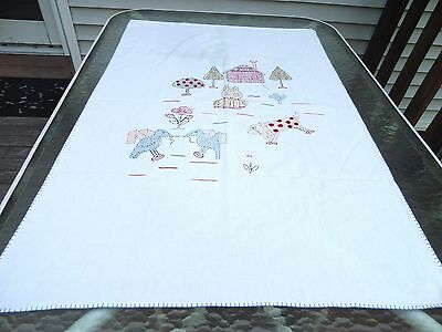 Vintage Embr Textured Cotton Nursery Bed/carriage Cover, White W/multi-Animals