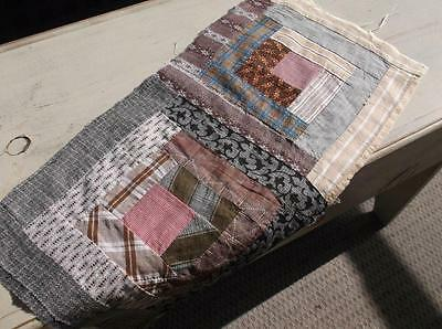 ~Back In Time Textiles~Antique 1860-1880 Log Cabin quilt piece ~