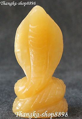 10CM China Yellow Jade Handwork Carving Clever Zodiac Snake Snakes Animal Statue