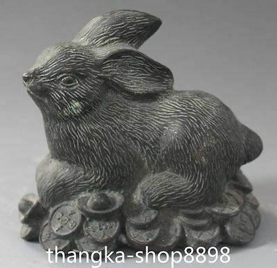 10CM Chinese Folk Bronze Wealth Money YuanBao Coins Rabbit Rabbits Animal Statue