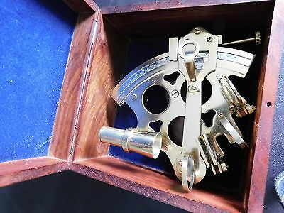 Polished Brass Sextant w/ Wooden Display / Storage Case - Mariner's Astrolabe