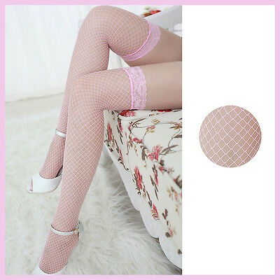 Fishnet Lace Nylon Thigh Over Knee High Top Mesh Pink Stockings