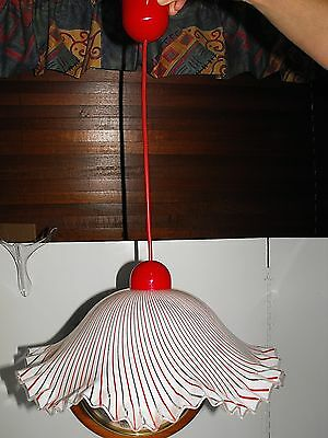 Retro Space Age Flying Saucer Style Red & White Stripe Wave Pattern Light Shade