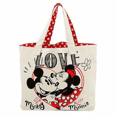 "Disney Mickey and Minnie Mouse Canvas Tote ""Love"""