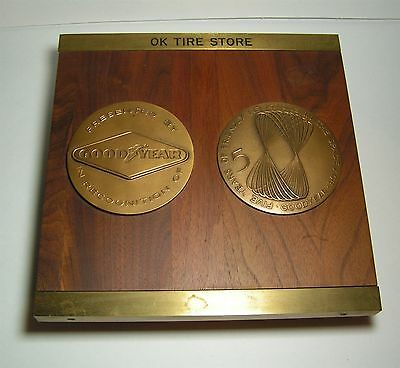 "Vintage OK TIRE STORE Plaque w/ Goodyear Tire Company 4"" DIA BRONZE MEDALLIONS"