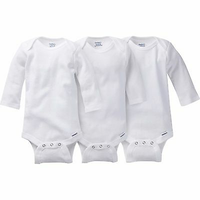 Gerber  Baby Boy/Girl/Unisex Onesies White Long Sleeve Bodysuit 3 Pack 18 Month