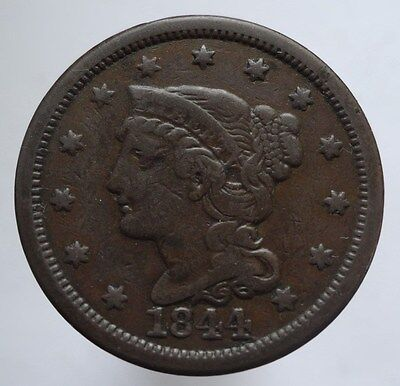 1844 Braided Hair Large Cent, Vf  ~  Tougher Date