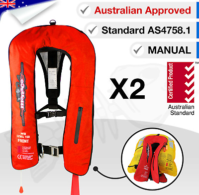 x2 ADULT Inflatable Life Jackets Type 1 PFD1 Yoke Manual LifeJackets Level L 150