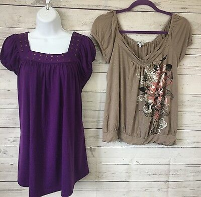 Lot of 2 Women's Large Maternity Soft Knit Short Sleeve Tops