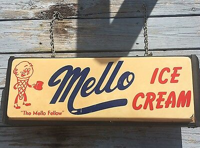 Vintage Rare Double Sided Mello Ice Cream Light Up Sign Works! Mello Fellow Ice