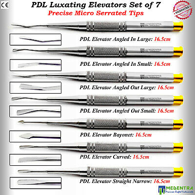 Dental Luxating Tooth Elevators Root Socket PDL Oral Surgery Set Precise Tip 7Pc
