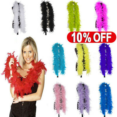 180cm Deluxe Feather Boa Hen Night Burlesque Showgirl Fancy Dress Accessory UK